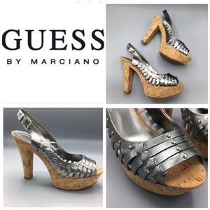 GUESS by Marciano Pewter Cork Platform Heel